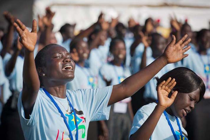 Worshiping in Juba