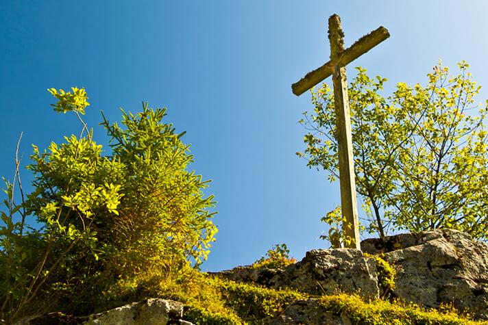 cross on sunny hill