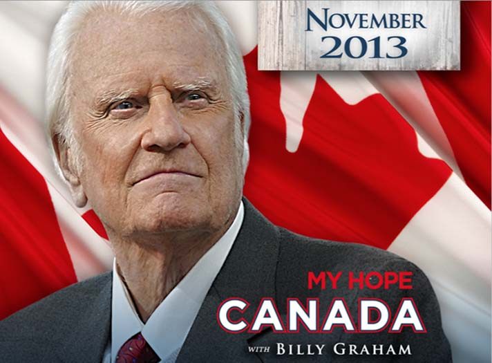 Billy Graham and Canadian flag