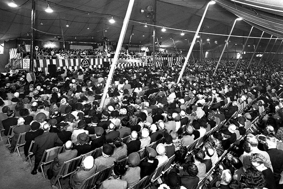 Inside a tent Crusade