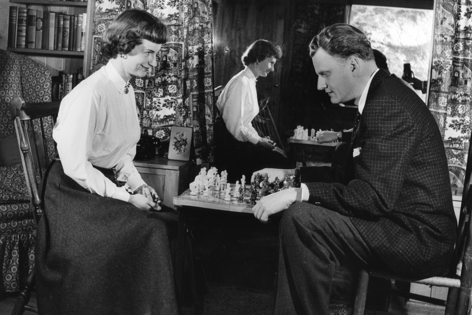 Billy and Ruth playing chess