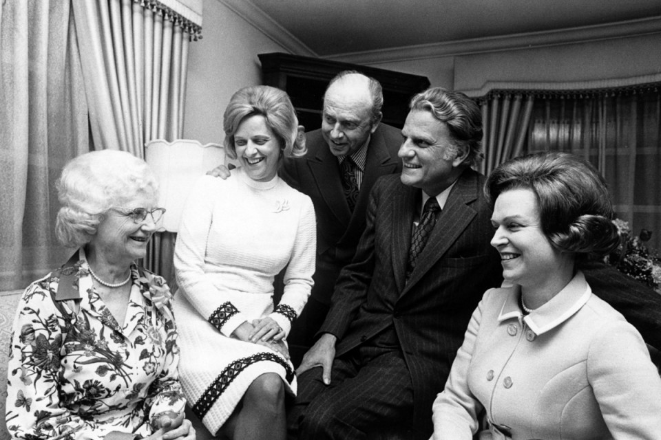 Billy Graham with mother and siblings