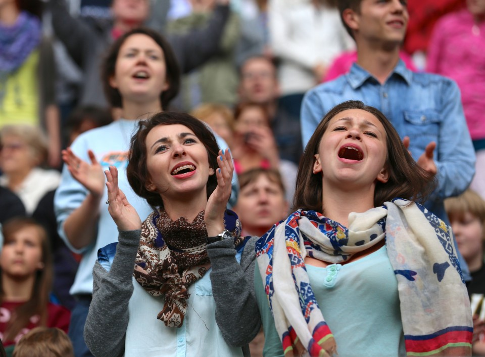 Women singing in Warsaw, Poland
