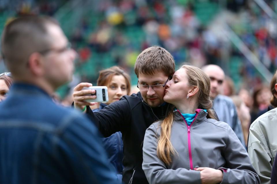 Couple takes photo