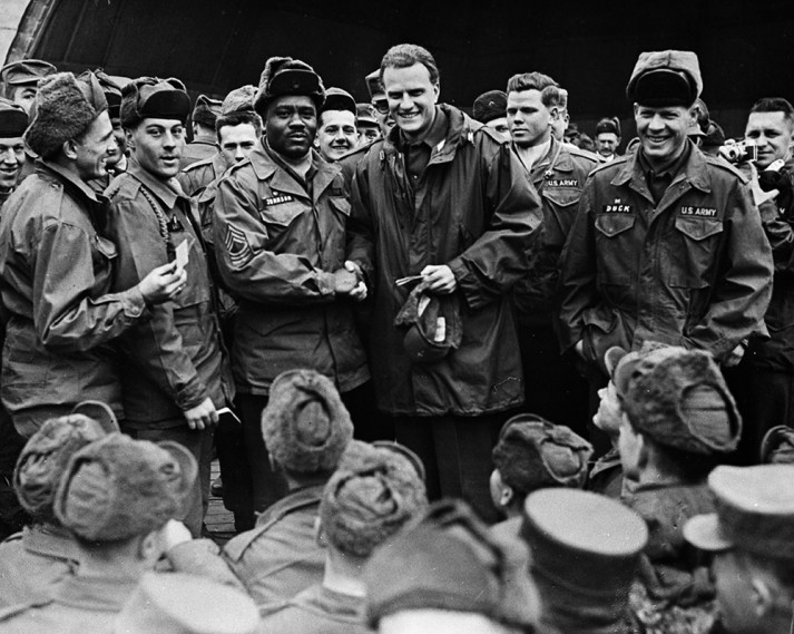 Billy Graham with troops