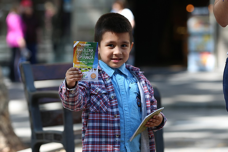 boy with flyers