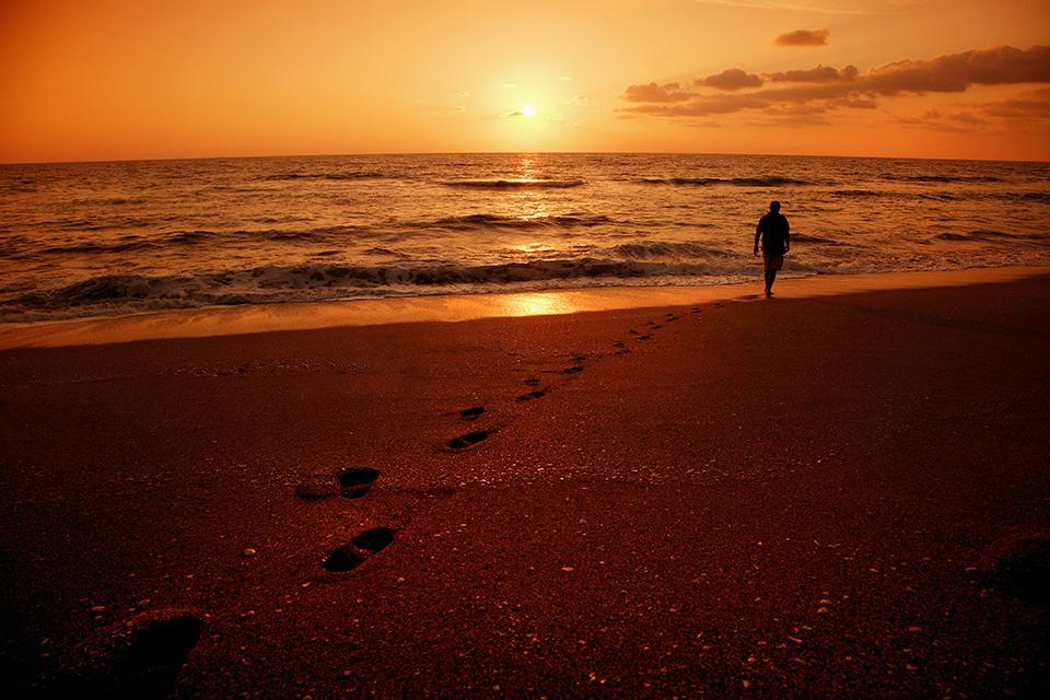 sunrise or sunset over ocean
