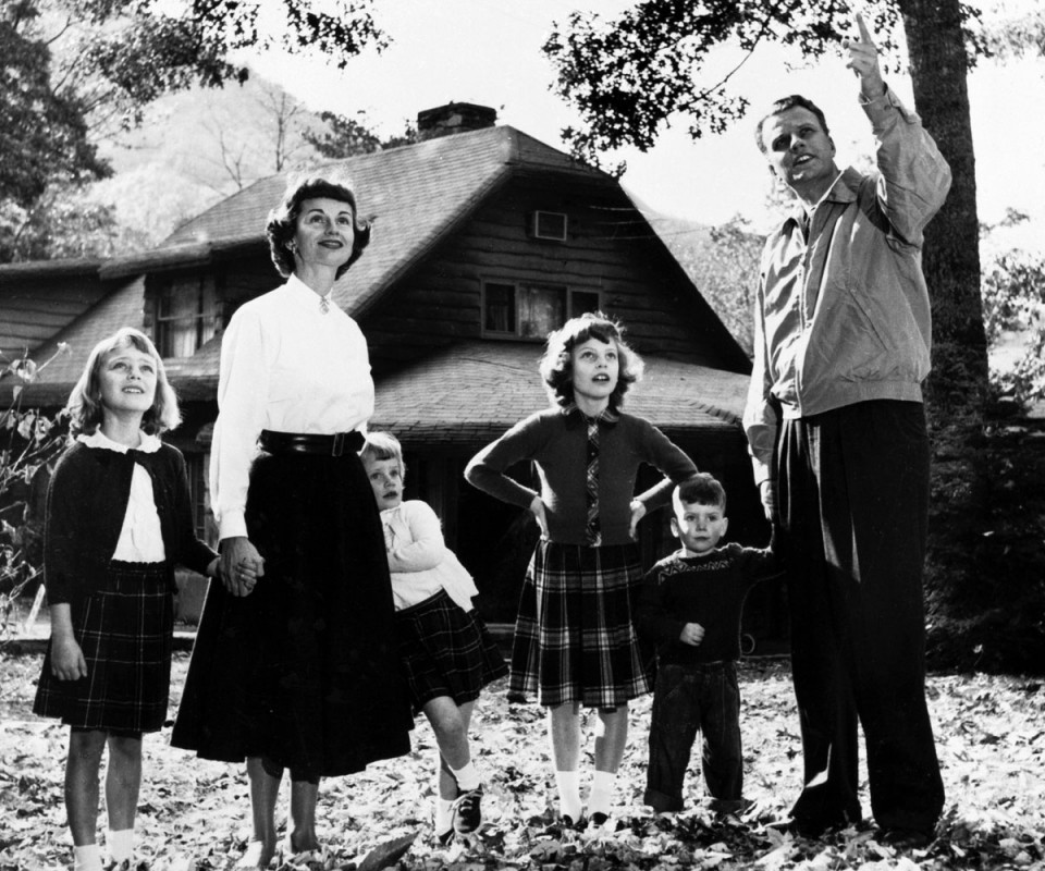 Billy Graham and family outside