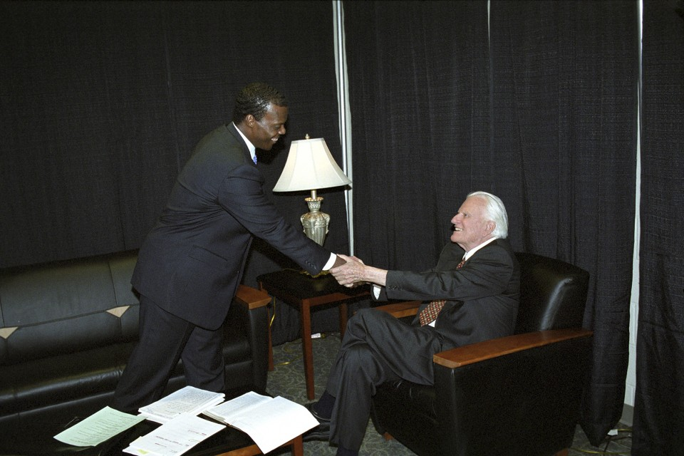JC Watts and Billy Graham 2003 OKC