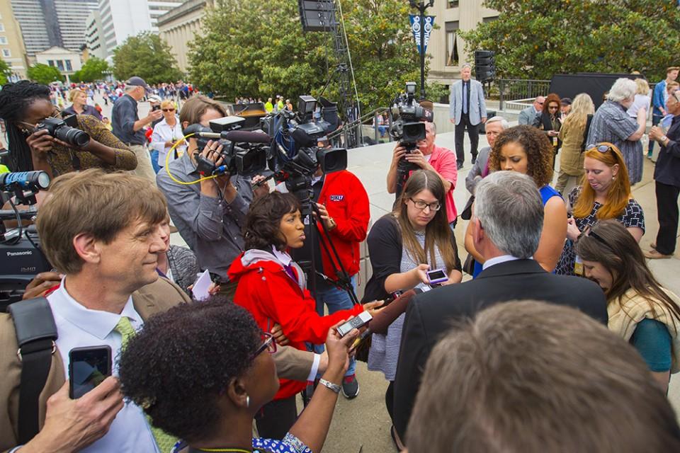 Franklin Graham being interviewed