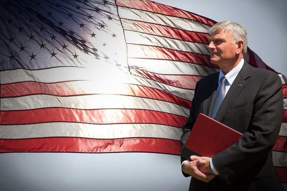 Franklin Graham with American flag