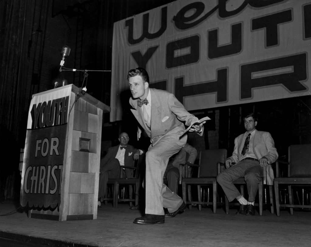 Billy Graham preaching at Youth for Christ rally