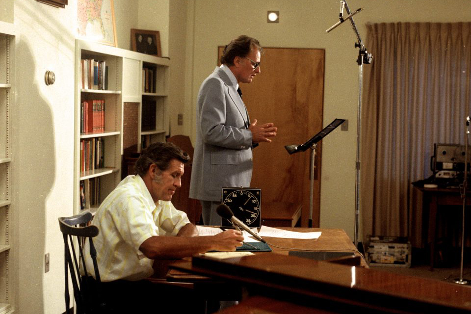 Cliff Barrows and Billy Graham recording The Hour of Decision radio program