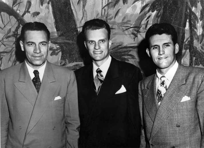 George Beverly Shea (left), Billy Graham, and Cliff Barrows (right) in the late 1940s.