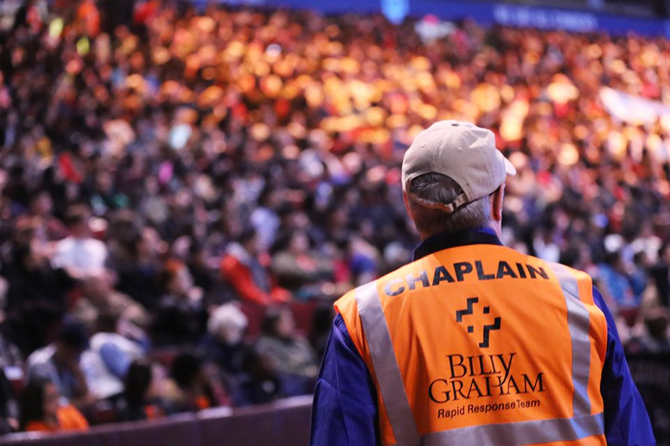 chaplain looking at crowd