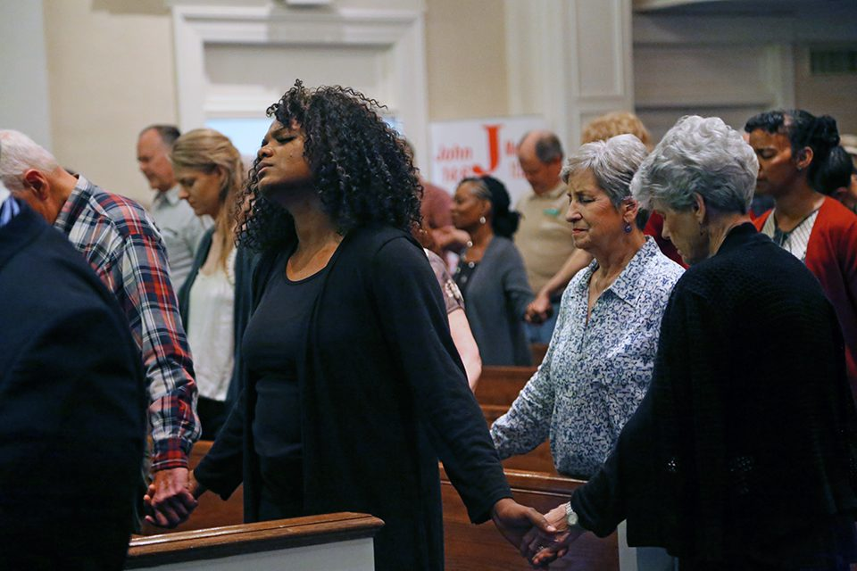 group in worship