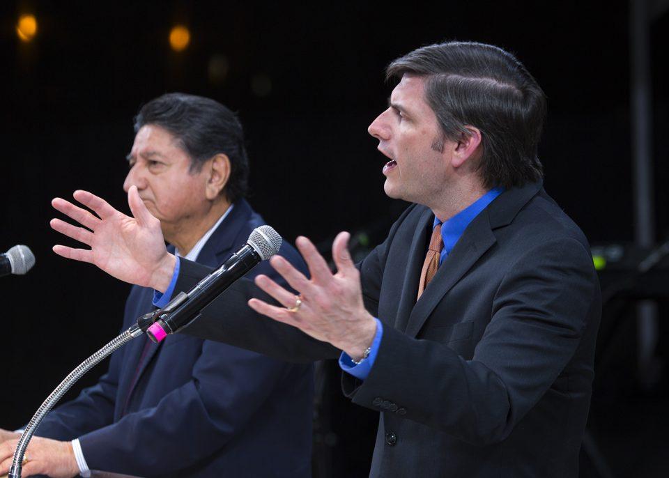 Evangelist Will Graham preaching; Galo Vasquez, director of Latin American Ministries at the Billy Graham Evangelistic Association interprets