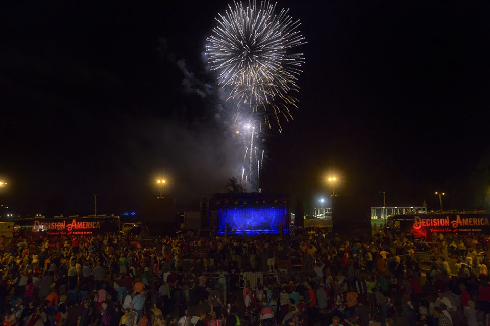 Crowd and fireworks
