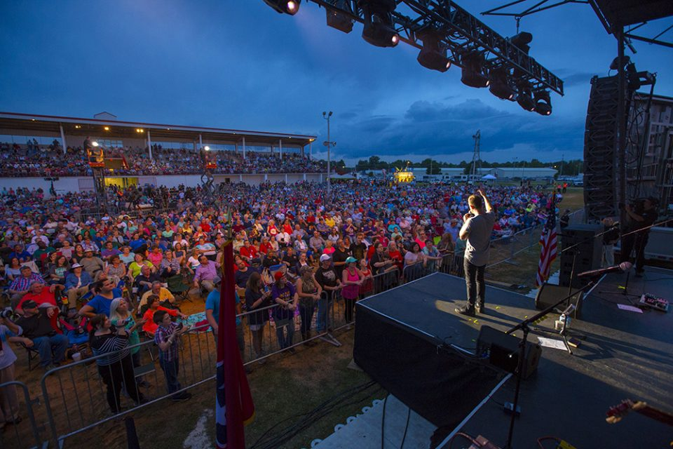 Jeremy Camp on stage; crowd of people