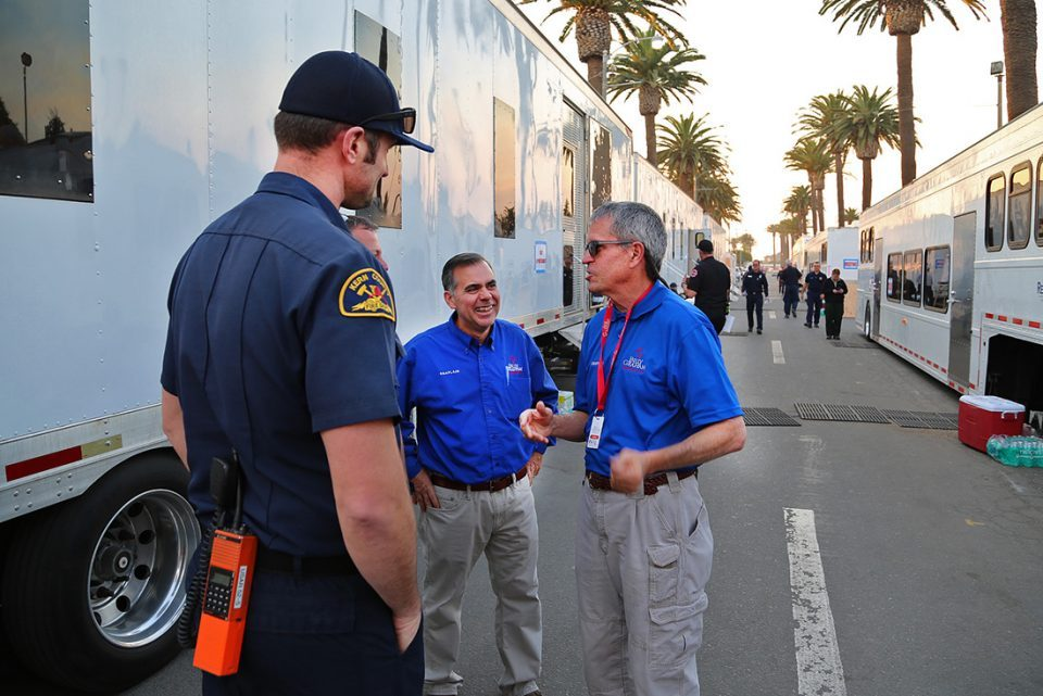 Chaplains talk with first responder