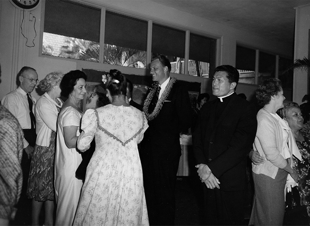 Billy Graham talking to people