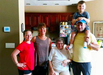 Wanda Pell, her daughter Carol, her grandson and two great-grandkids.
