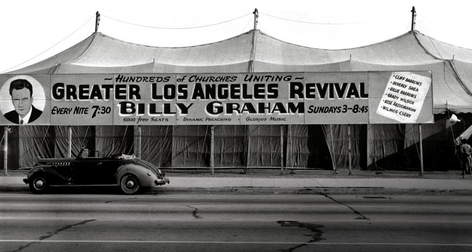 Tent with Greater Los Angeles Revival banner