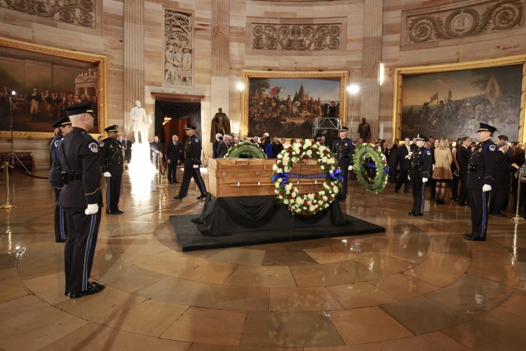 casket in US Capitol rotunda