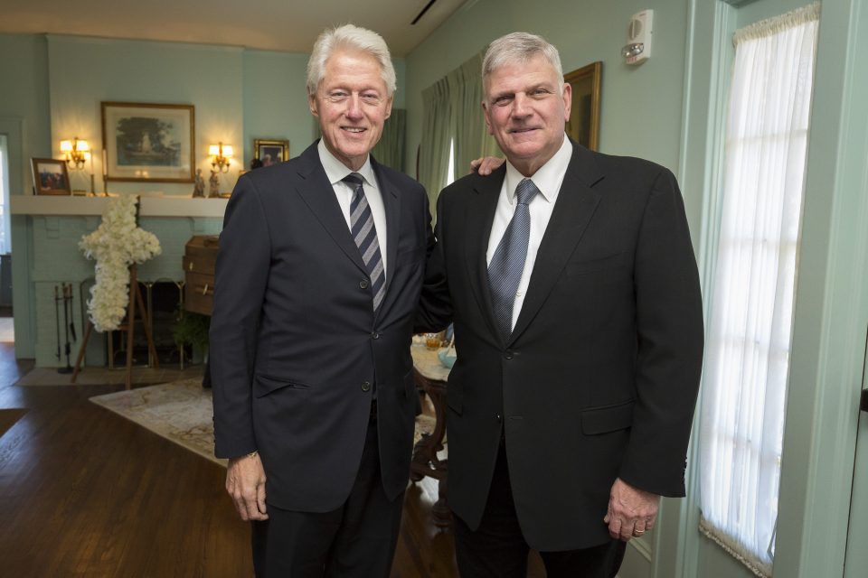 President Clinton and Franklin Graham in the Homeplace