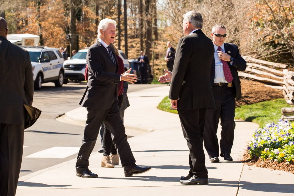 President Clinton greets Franklin Graham