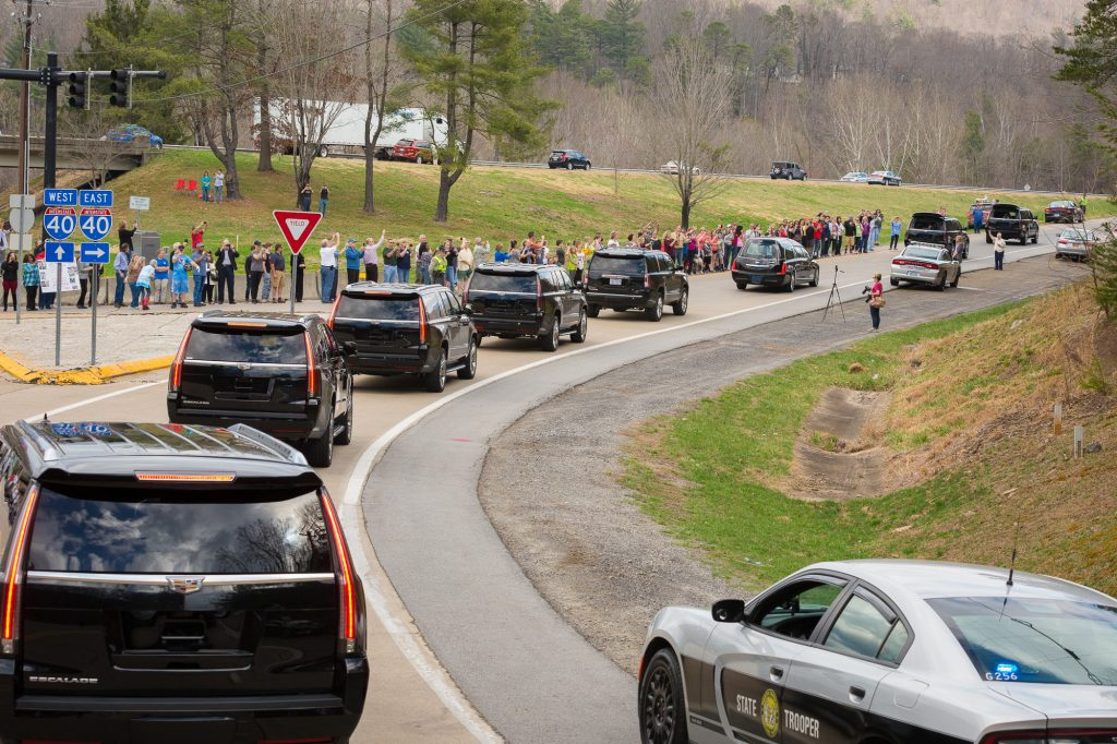 motorcade leaving Asheville