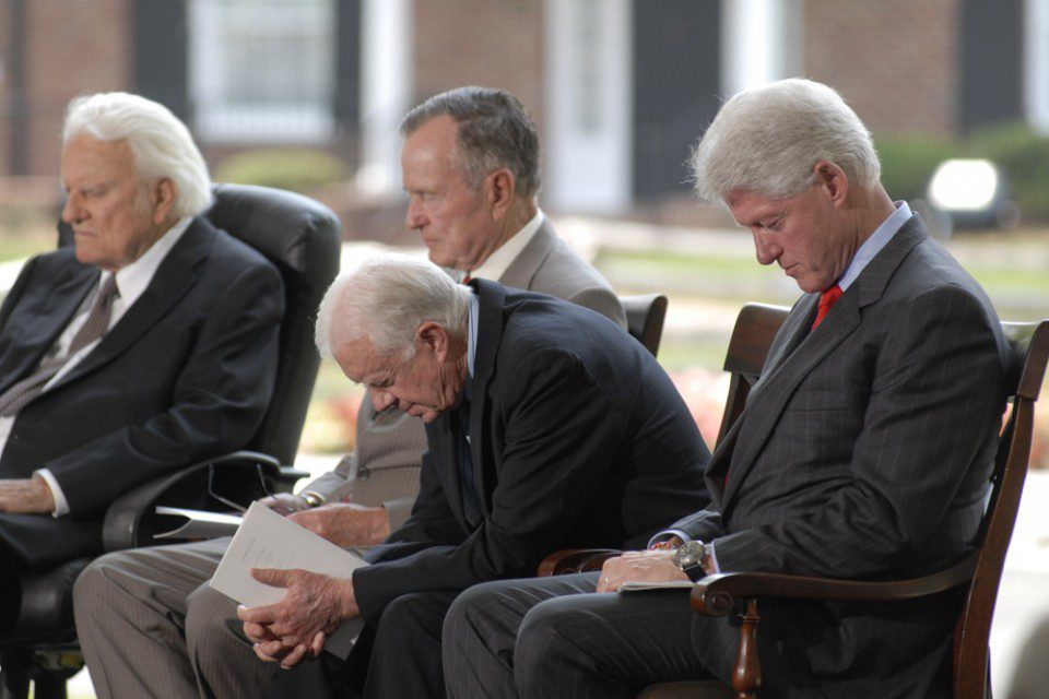 Presidents and Billy pray