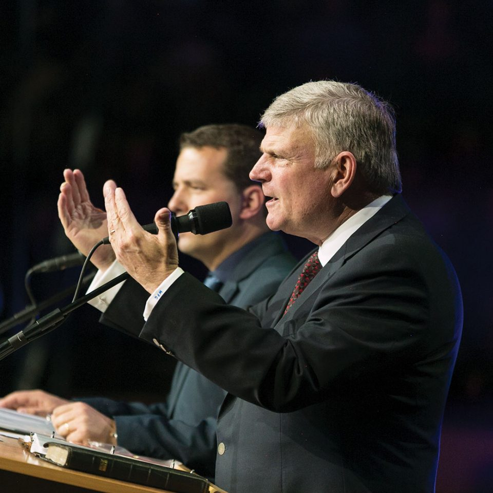 Franklin Graham and interpreter in Lisbon, 2018