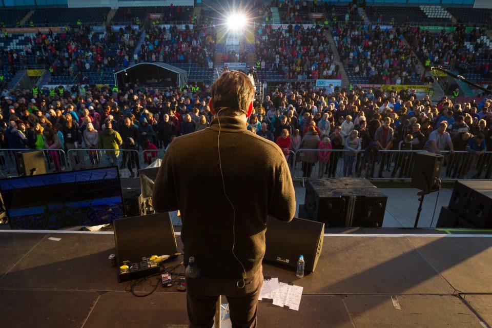 Will Graham preaching; crowd