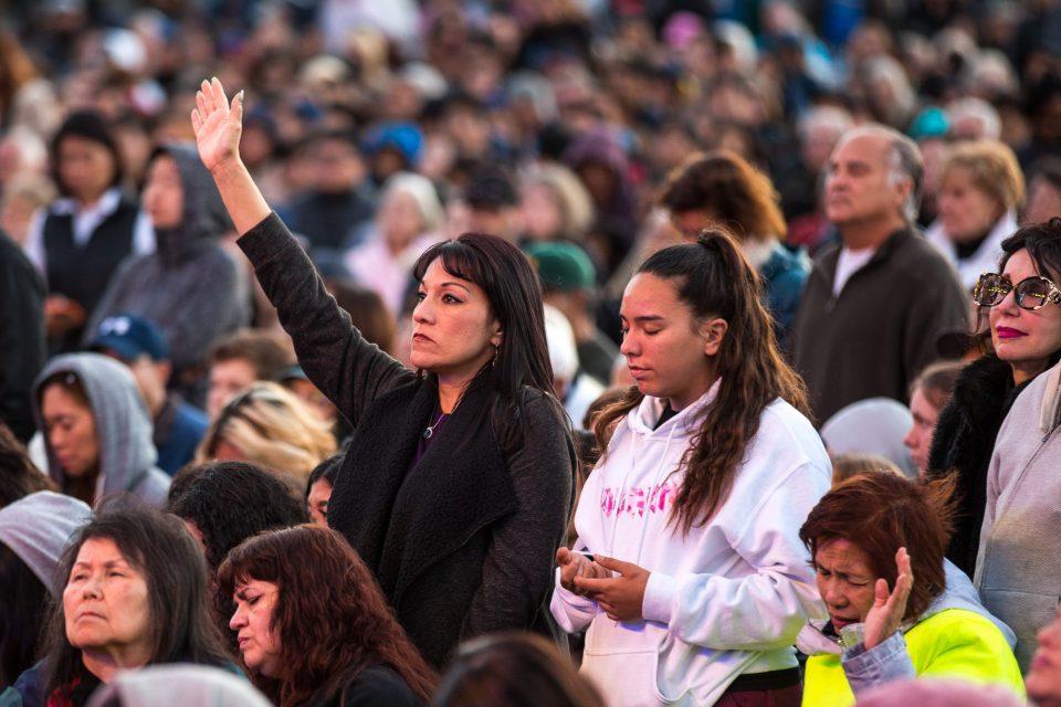 women standing in crowd