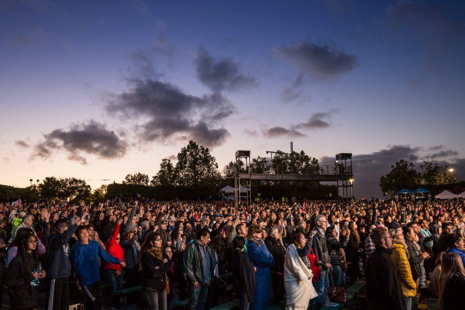 crowd at sunset