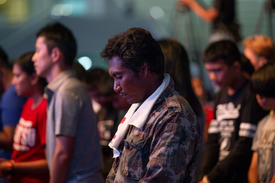 Thai man praying