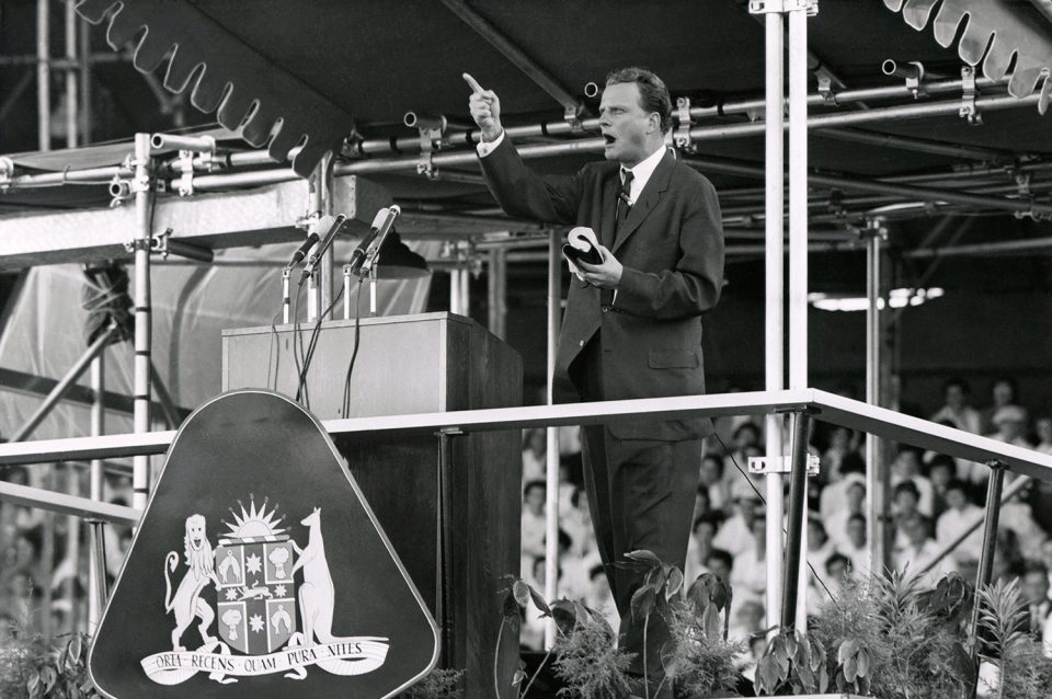 Billy Graham preaching Australia