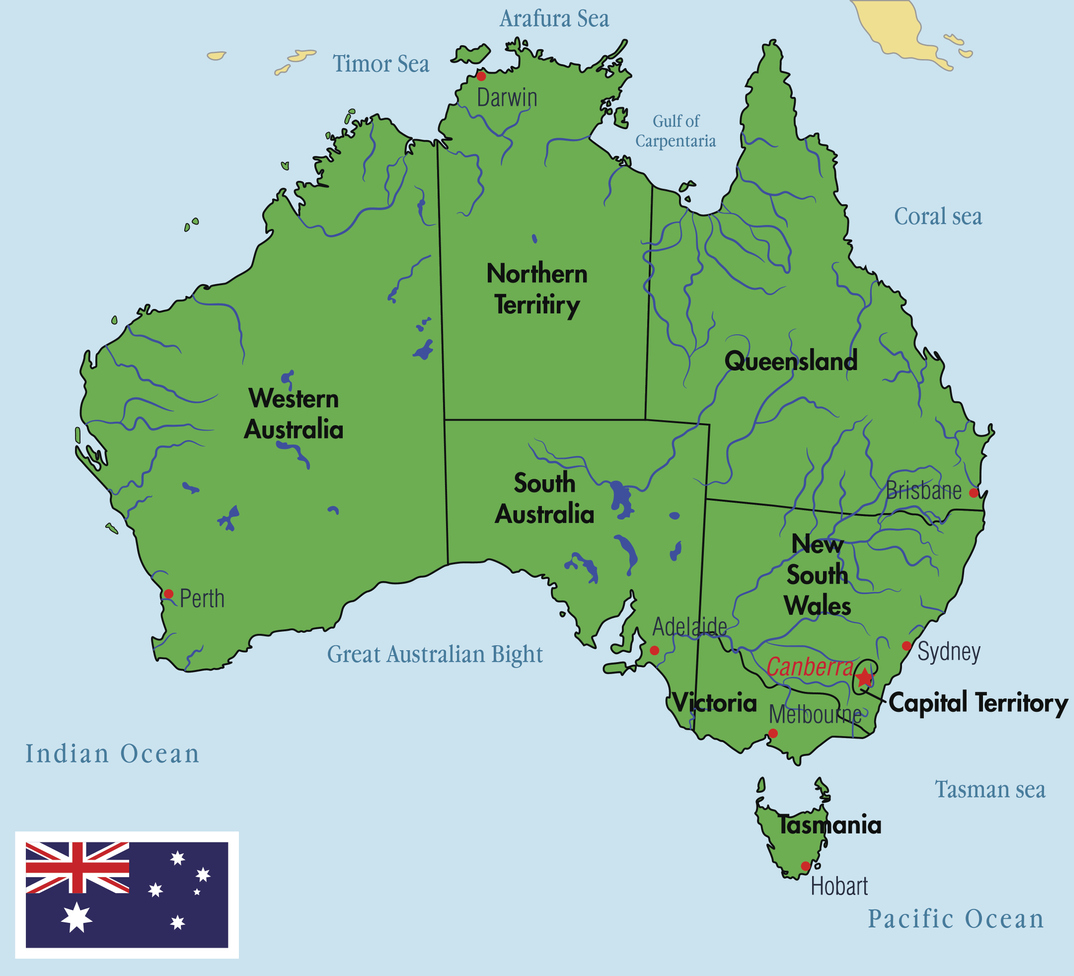 Map Of Australia Regions.Australia Map With Regions And Their Capitals