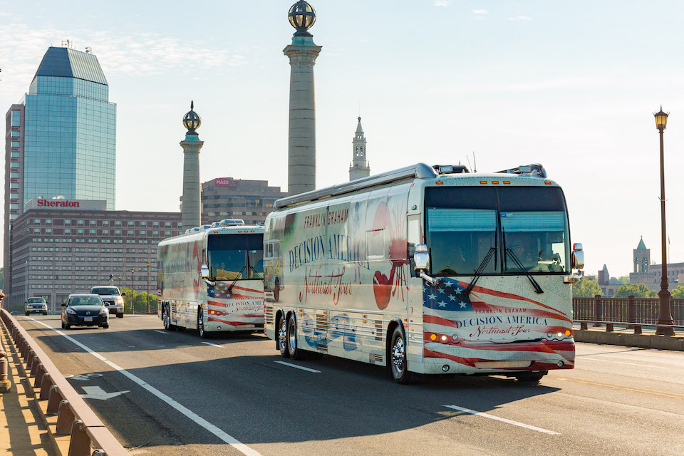 Decision America Tour bus