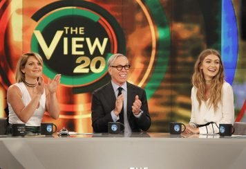 "Candace Cameron Bure, Tommy Hilfiger and Gigi Hadid during an airing of ""The View"" in 2016."