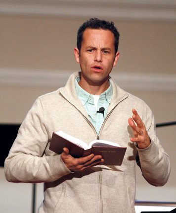 Kirk Cameron speaks at First Baptist Church of Matthews, North Carolina, in 2012.