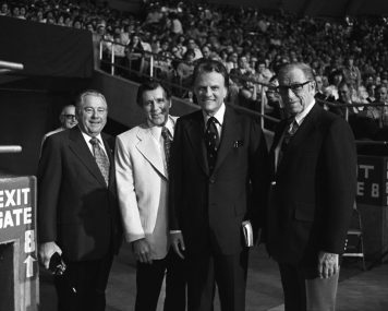 "George Beverly Shea (far right) was a musical mainstay at Billy Graham's Crusades and a member of the original Billy Graham Evangelistic Association team. ""When [Shea] sings, he sings a sermon,"" Billy Graham said."