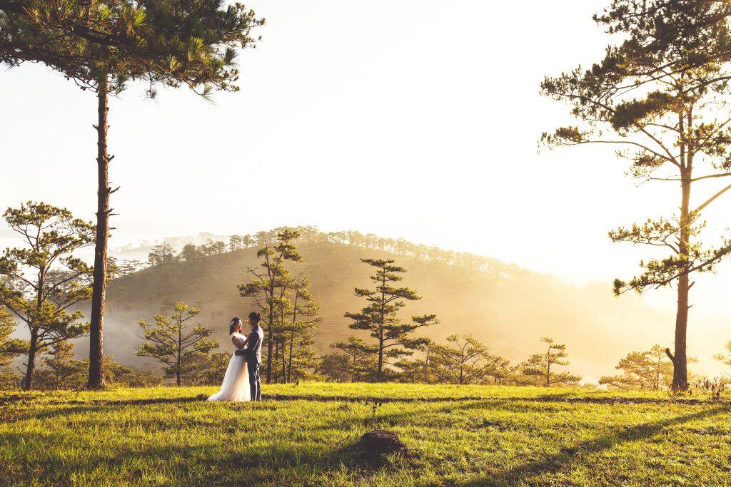 a newly wedded couple