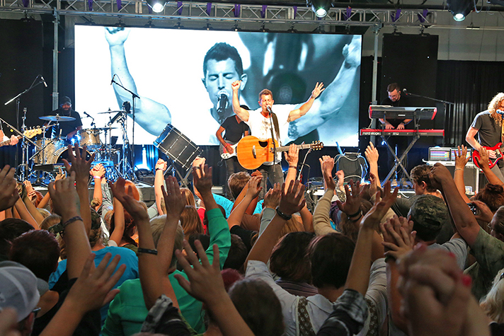 Jeremy Camp, whose life story will be featured in a movie next year, brought high-energy music to set the stage for the Gospel to be shared.