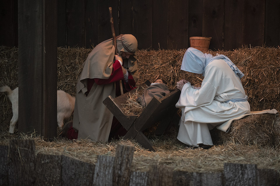 Mary and Joseph with Jesus in a live nativity