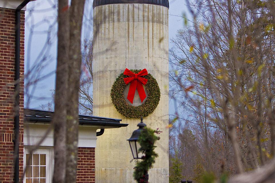 Silo with a Christmas wreath