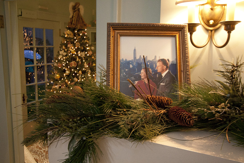 NYC frame of Ruth and Billy Graham on the fireplace mantle