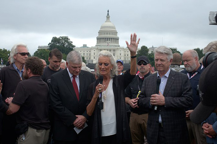 Anne Graham Lotz leading prayer in front of Capitol