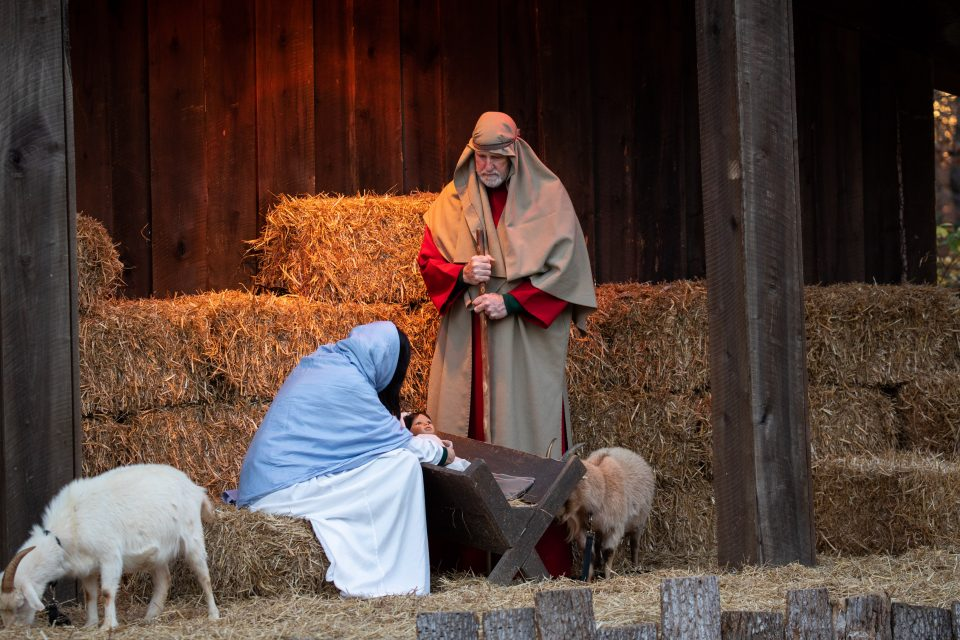Mary, Joseph and baby Jesus depicted by volunteers